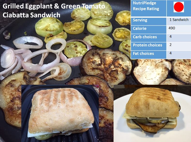 Check out your Therapeutic Thursday recipe – Grilled Eggplant & Green Tomato Ciabatta Sandwich