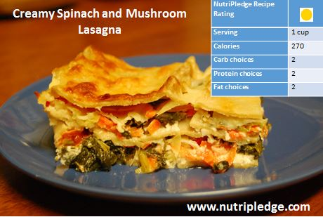 Therapeutic Thursday Recipe: Creamy Spinach and Mushroom Lasagna