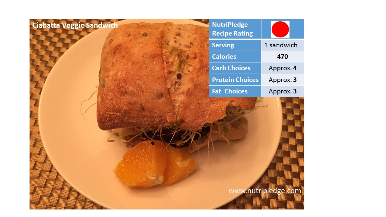Checkout our Therapeutic Thursday Recipe-Ciabatta Veggie Sandwich!