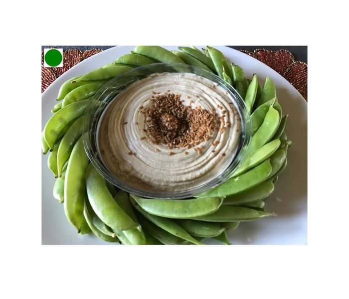 Sugar Snow Peas Swirl with Hummus: Health Promoting-Green Dot Recipe