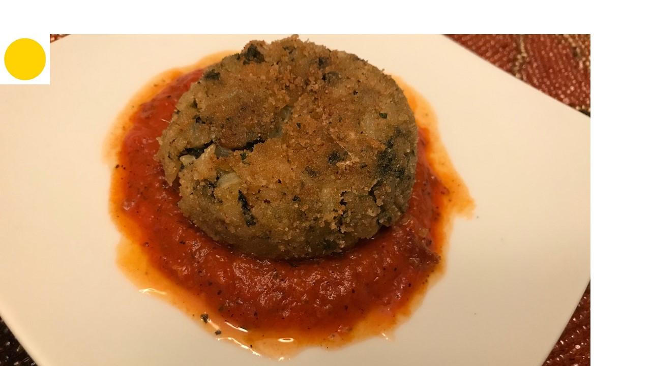 Brown rice Arancini with kale and fresh mozzarella cheese | Yellow dot | healthy balance food