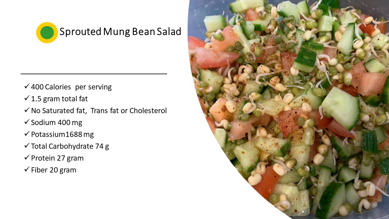 Sprouted Mung Bean Salad|Green-Yellow dot food |Healthy Meal Replacer