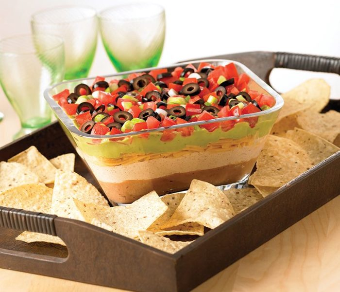 Super bowl party with Seven Layers of Fiesta