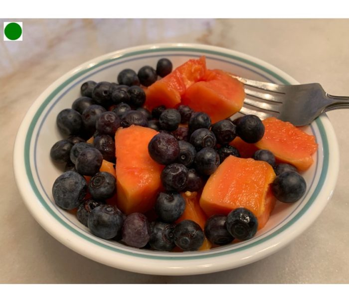 Papaya with Blueberries
