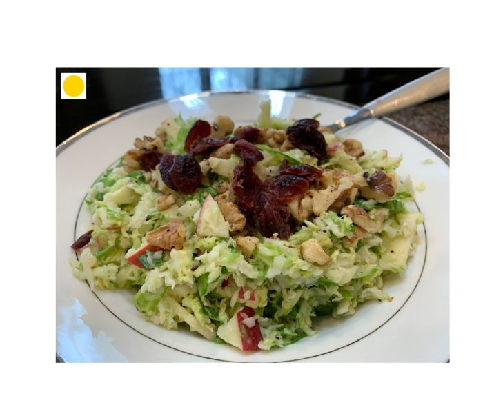 Brussels Sprout Apple Salad with Toasted Walnuts & Cranberries