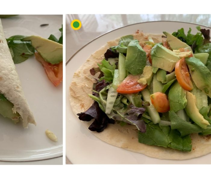 Spring Salad Hummus Wrap