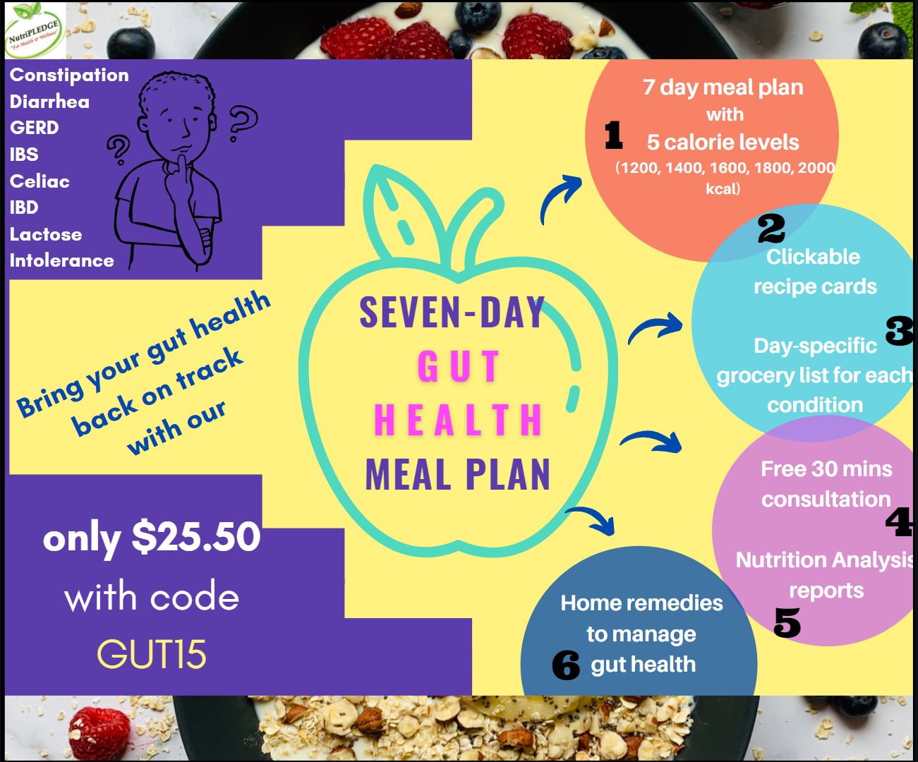 Seven Gut Conditions (gastrointestinal diseases) and Meal Plans to Heal Naturally!
