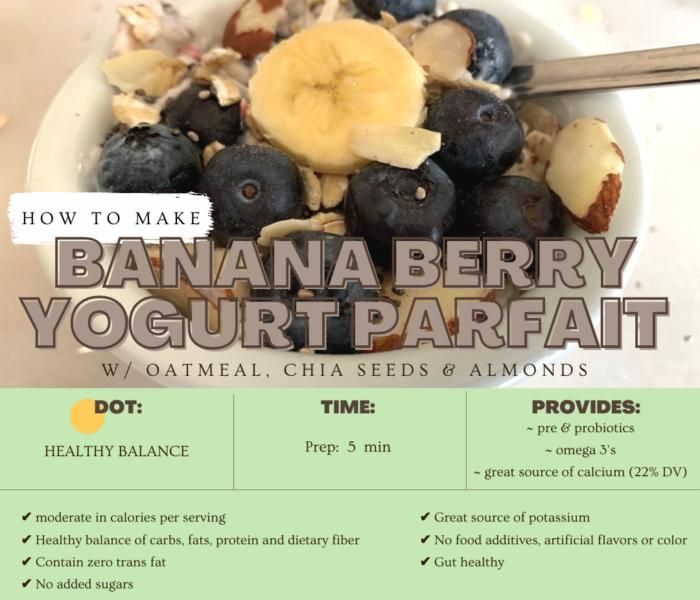 Banana Berry Yogurt Parfait with Oatmeal, Chia Seeds & Almonds