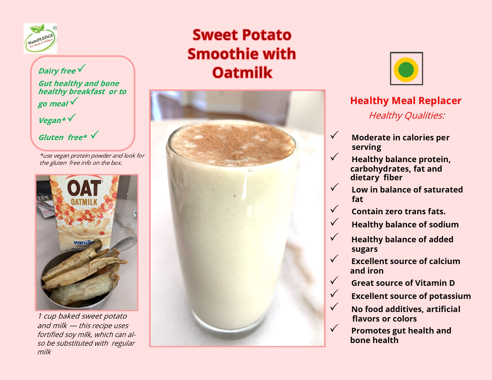 Sweet potato smoothie with oat milk