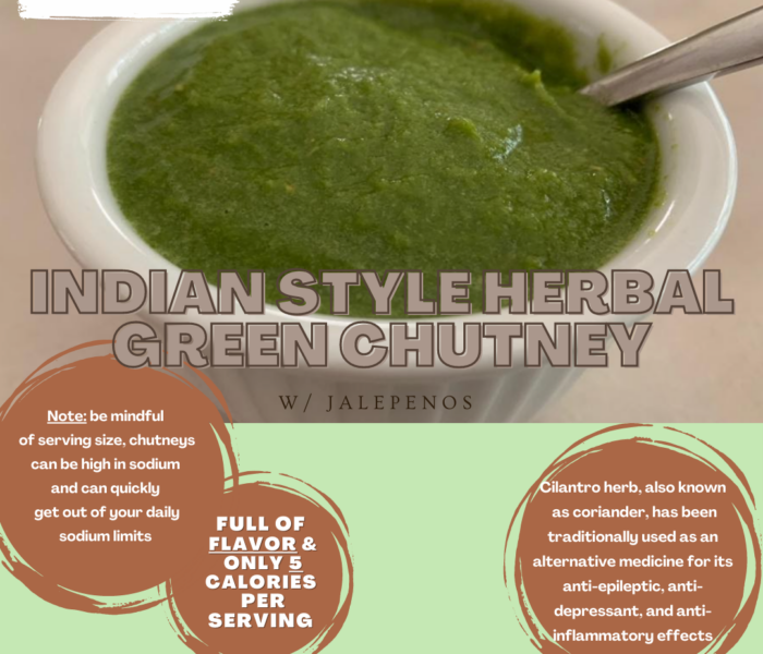Indian Style Herbal Green Chutney with Jalapenos