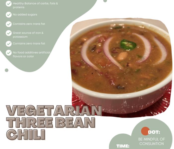 Three Bean Vegetarian Chili